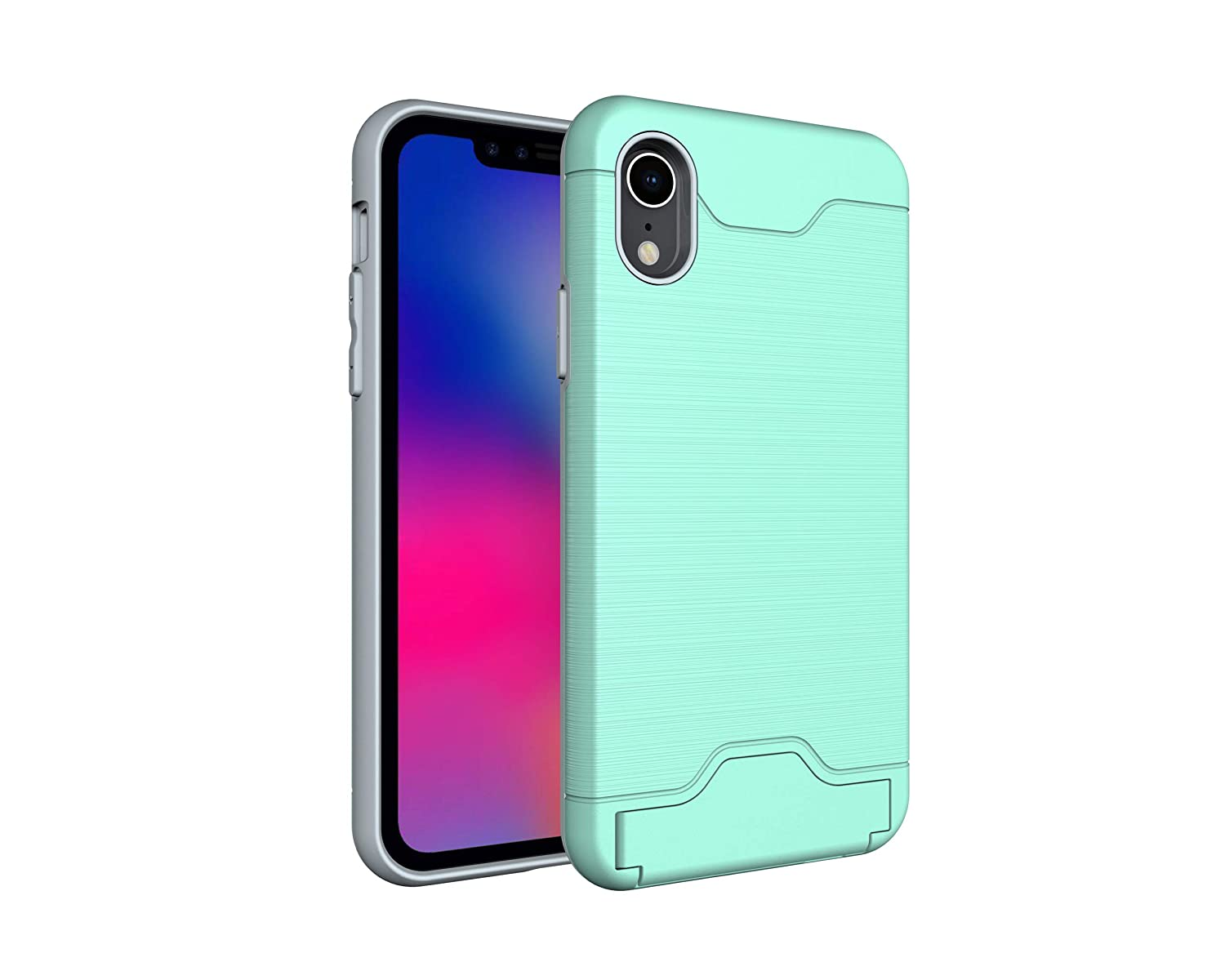 newest 58794 4f2c6 Amazon.com: iPhone XR Shockproof Case w/Card Holder Slot and ...