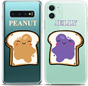 Cavka Matching Couple Cases Replacement for Samsung Galaxy S20 Note 20 5G S10e A71 A50 A11 A01 S7 S8 Toast Peanut Silicone Pair Cover Clear Jelly Food Kawaii Best Friend Bro BFF Women Cute Mate Teen
