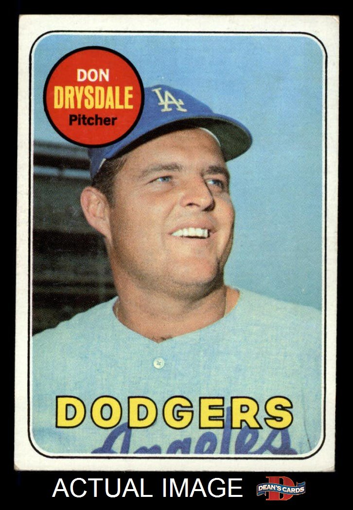 Baseball Card EX Dodgers 1969 Topps # 400 Don Drysdale Los Angeles Dodgers Deans Cards 5