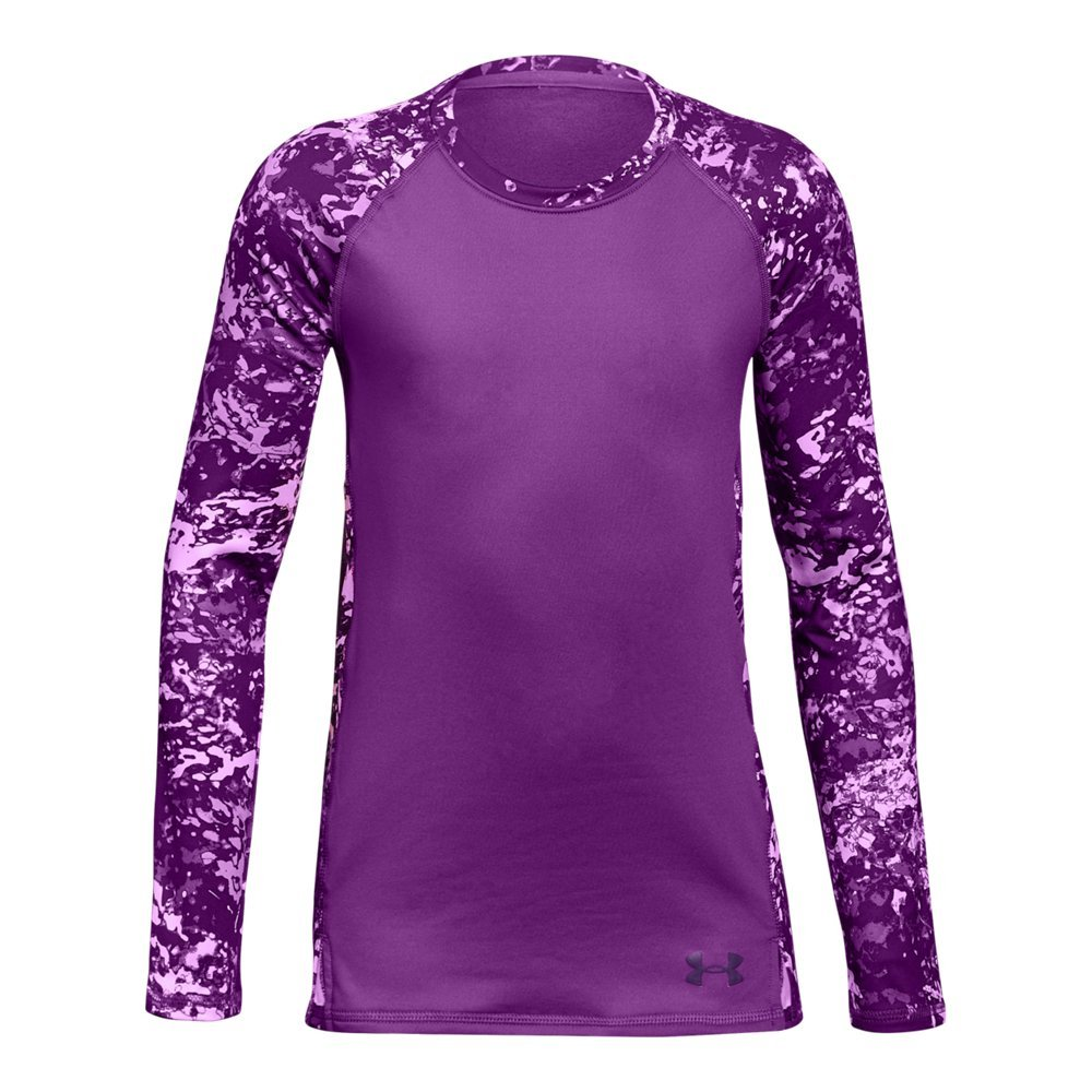 Under Armour Girls' ColdGear Crew Neck,Purple Rave (959)/Indulge, Youth X-Small by Under Armour