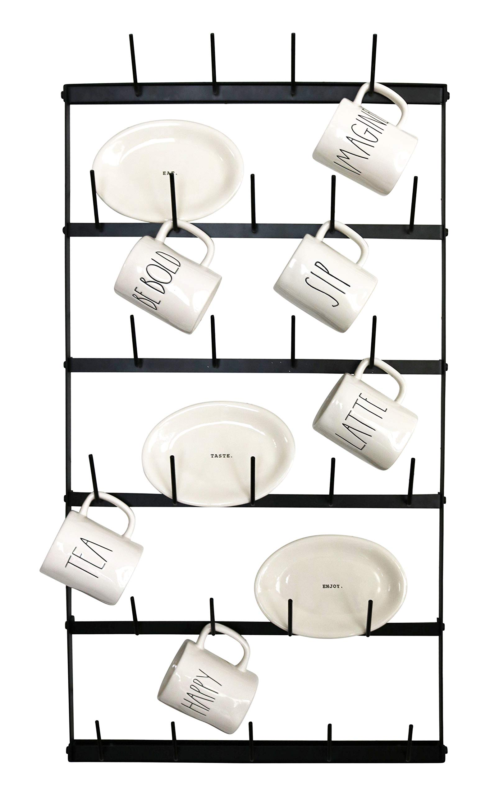 Metal Coffee Mug Rack - Large 6 Row Wall Mounted Storage Display Organizer Rack For Coffee Mugs, Tea Cups, Mason Jars, and More. (38'' x 20.5'' x 3'')