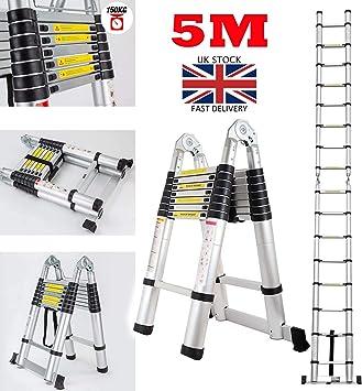 Escalera telescópica de aluminio multiusos con 16 peldaños, 5 m, plegable, soporta hasta 150 kg, estándar EN131: Amazon.es: Bricolaje y herramientas