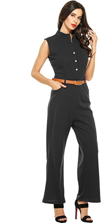 Womens Jumpsuits Sleeveless Ruffles Capri Bodycon Jumpsuits Rompers with Belt