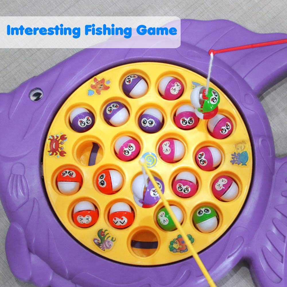 Fishing Game Toy, Electronic Rotating Music Colorful Fish Board Game Play Set Educational Training Great Party Favors for Children Kids Toddles Boys Girls