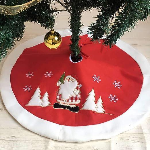 PICTURESQUE Falda Árbol de Navidad Papá Noel Rojo Terciopelo ...