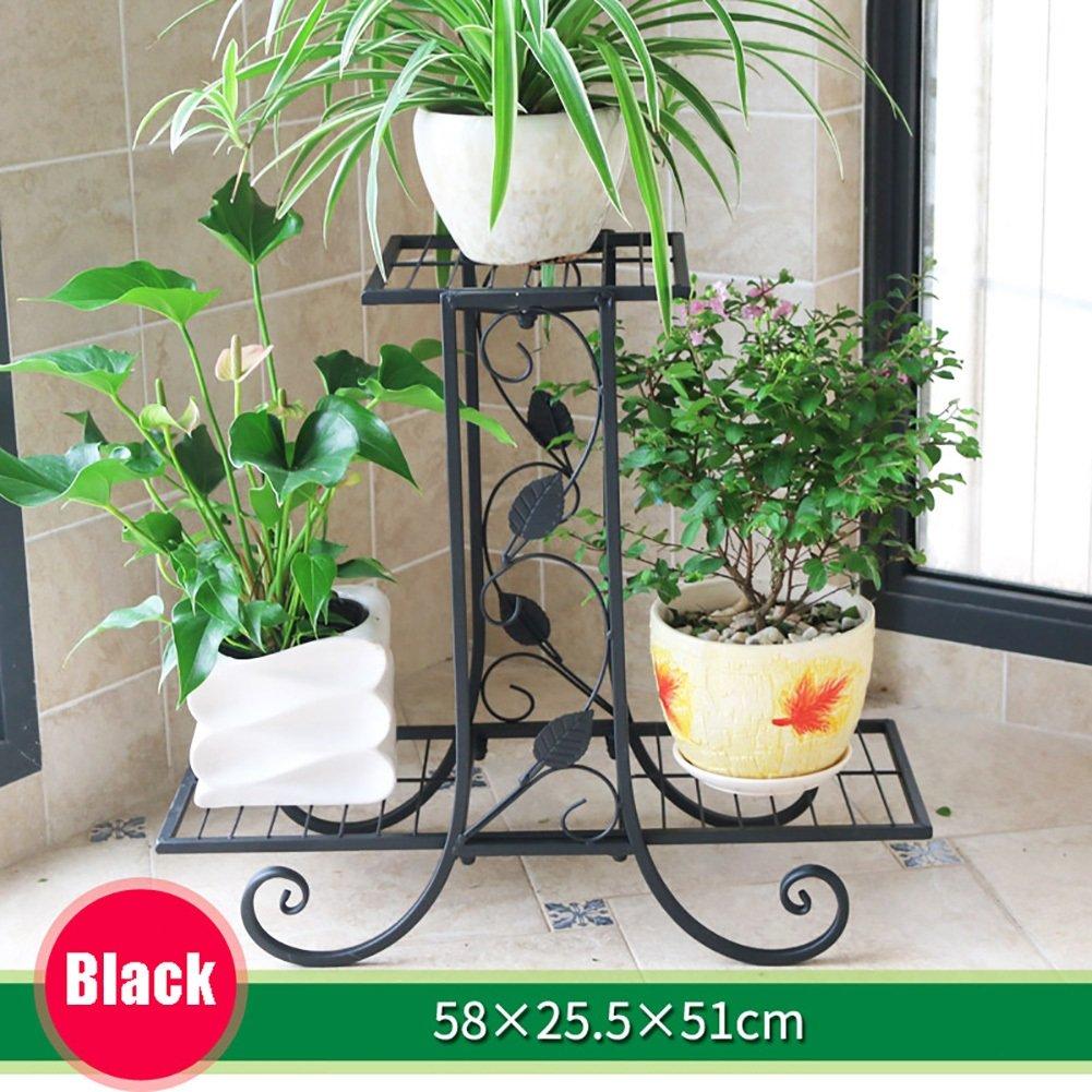 LXLA-stand di fiori LXLA- 2,3,4-Tier Continental Balcone Flower Pot Stand Ferro Multistrato Display Mensola Living Room Rack da terra in vaso (colore   Nero, dimensioni   58×25.5×51cm)