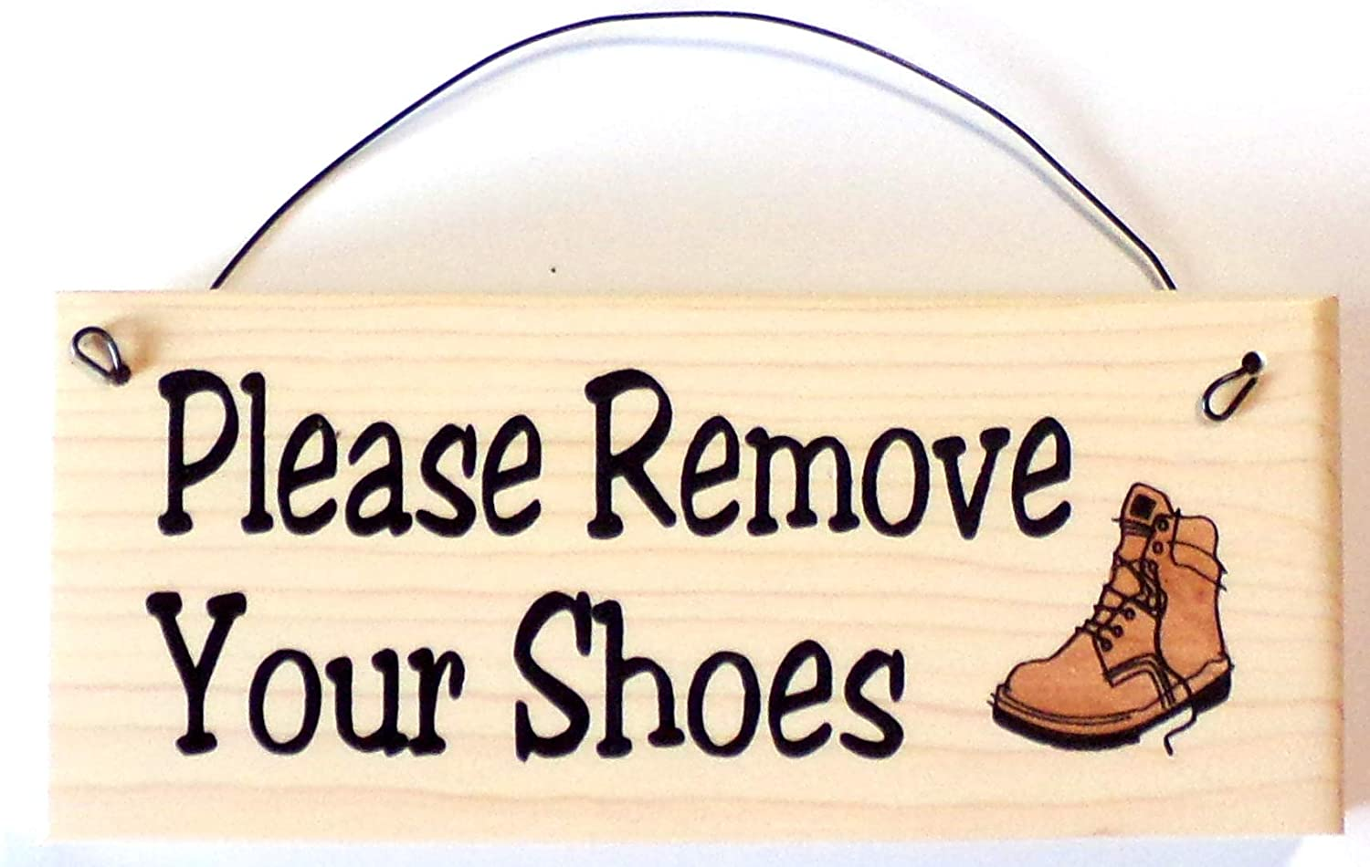 Welcome please remove your shoes solid wood plaque signs 2