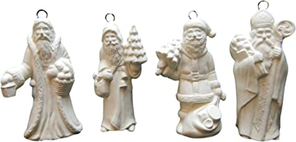 Handmade in USA Ready to Paint Unpainted Set of 3 Ceramic Bisque Roly Poly Santa Christmas Ornaments