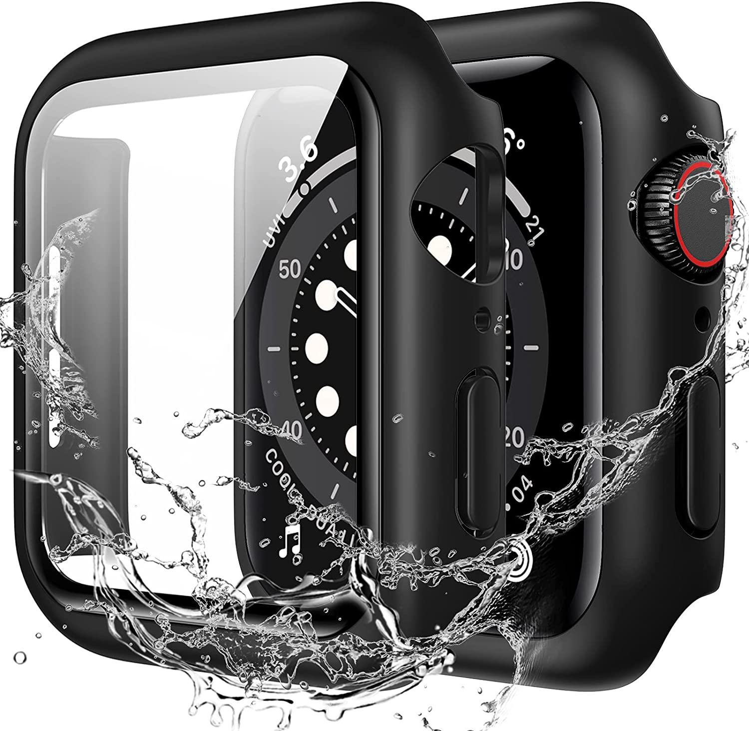 Goton Waterproof Case Compatible with Apple Watch SE Series 6/5/4 44mm with Tempered Glass Screen Protector, All Around Protective Hard PC Cover for iWatch Accessories - Black