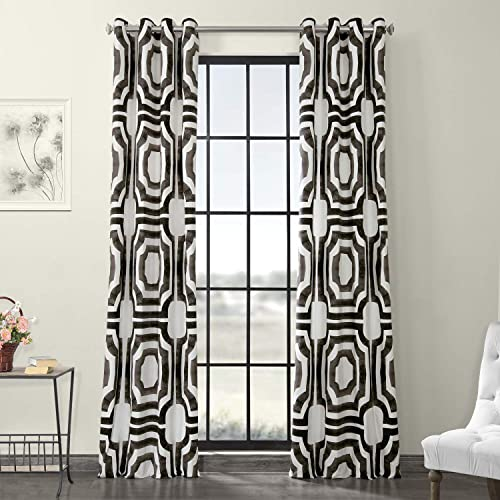 HPD Half Price Drapes PRTW-D23-96-GR Grommet Printed Cotton Curtain 1 Panel , 50 X 96, Mecca Brown