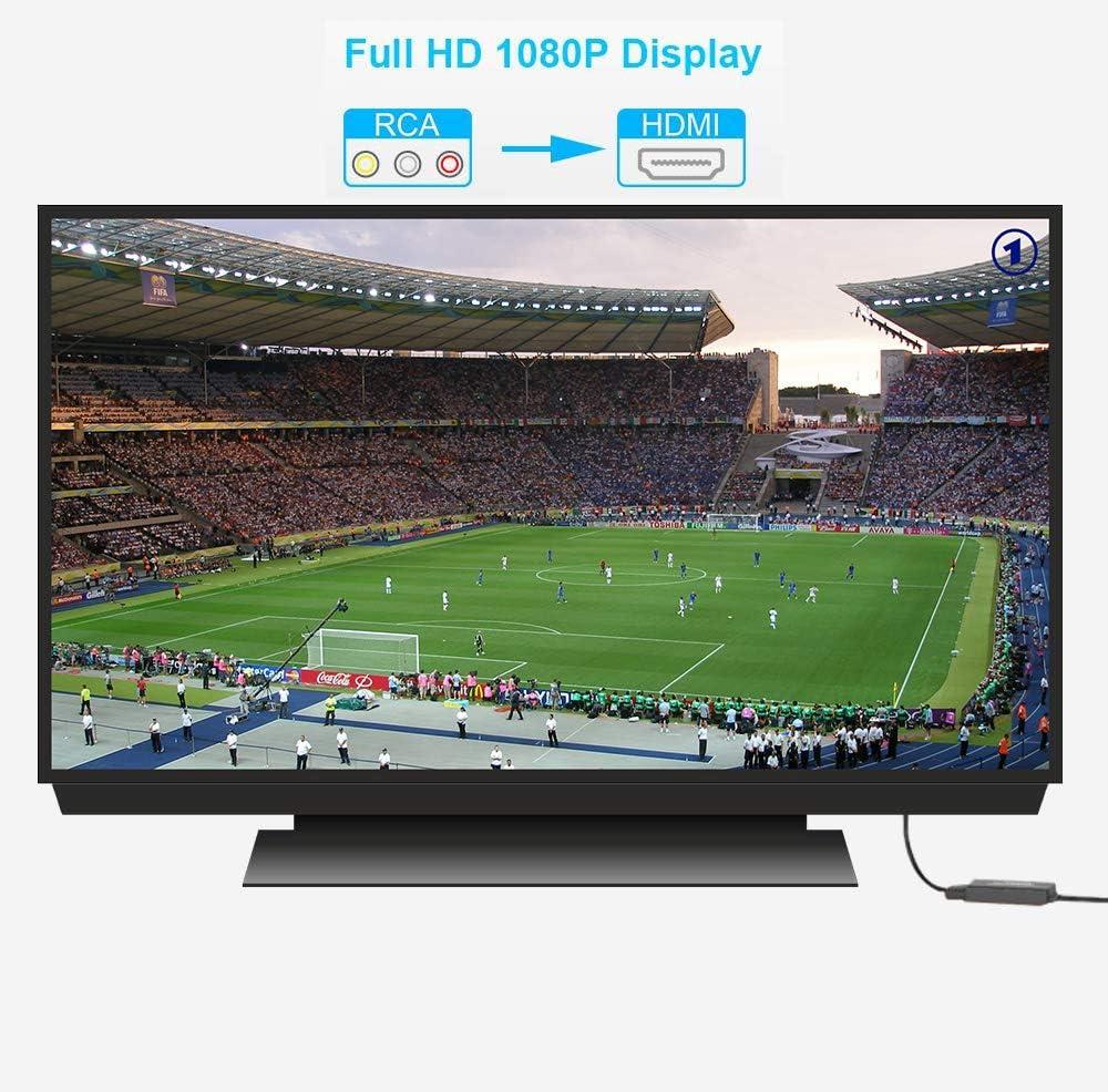 RCA a HDMI, AV a HDMI, Composite a HDMI Convertidor de Video Soporte 1080P con Cable de Alimentación USB para PC/Laptop/Xbox / PS4 / PS3 / TV/STB/VCR Cámara DVD: Amazon.es: Electrónica