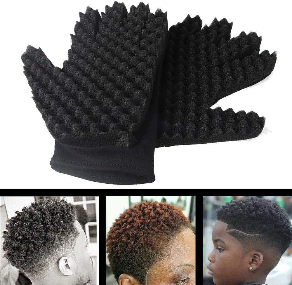 NoirC Longra 1pc Mode Curls Coil Outil magique Wave Barber Brosse /à cheveux Gants en /éponge Outil de maquillage cheveux Gant de toilettage Gants boucl/és pour Unisexe Durable R/éutilisable