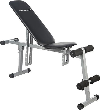 Ultrasport Banco de abdominales, banco de entrenamiento, varios ajustes, banco plegable, carga máxima 100 kg, para diferentes ejercicios de ...