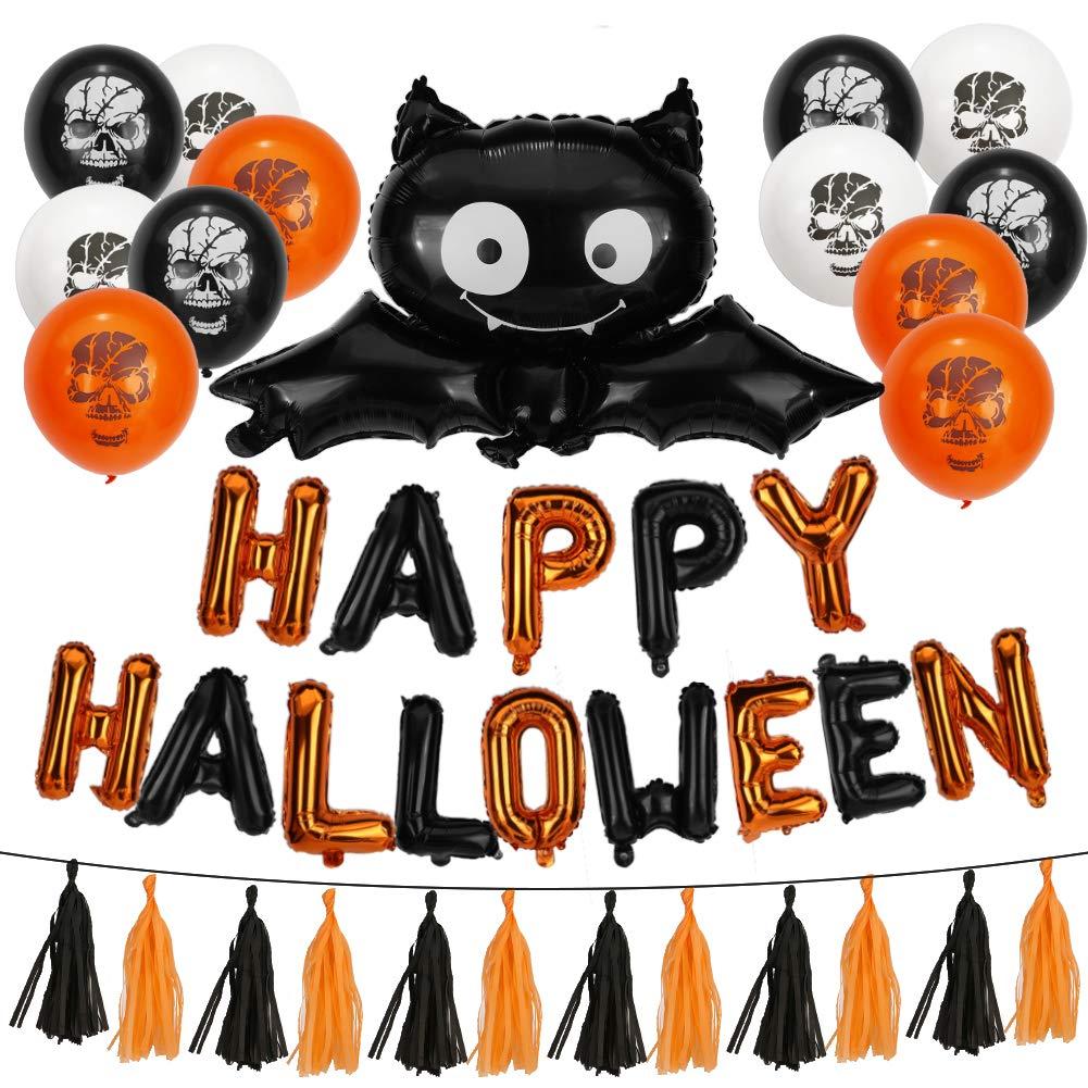 Pumpkin/&Bat Inflatable Balloons Merssyria Happy Halloween Party Decoration Latex Balloons//Paper Garlands//Star Halloween Balloons Banner Kit