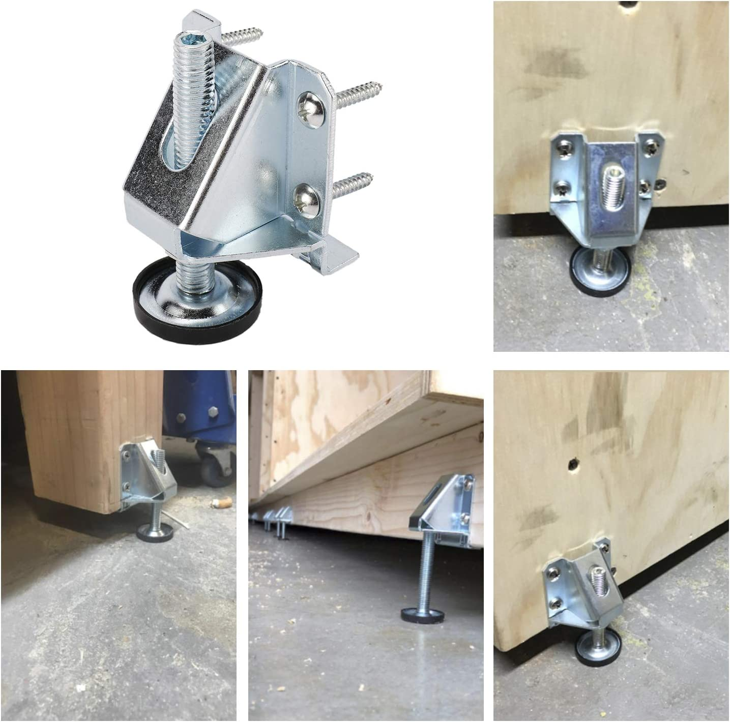 Details about 8 Pack Heavy Duty Leveler Legs with Lock Nuts Adjustable  Furniture Levelers