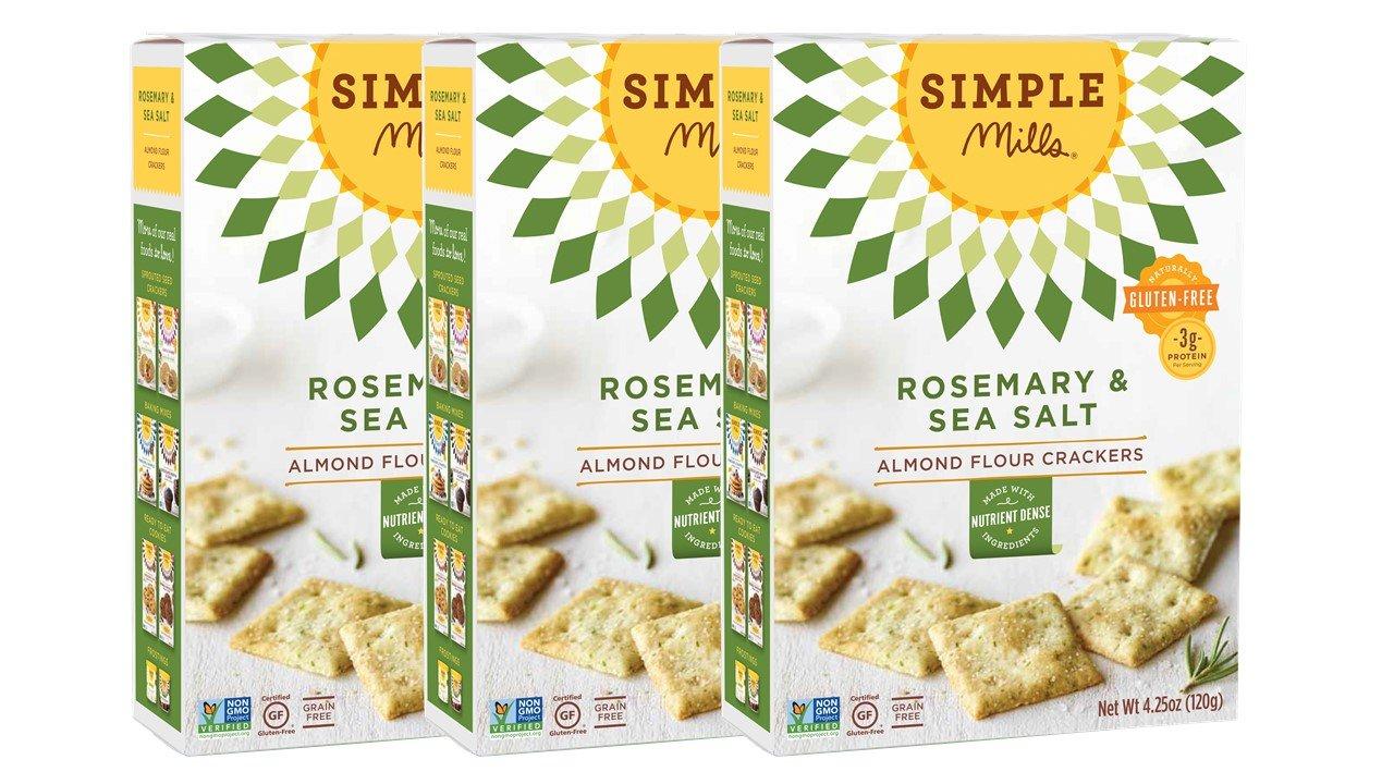 Simple Mills Naturally Gluten-Free Almond Flour Crackers, Rosemary & Sea Salt, 3 Count