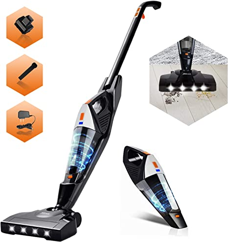 Cordless Vacuum White Hikeren Stick Vacuum Cleaner Powerful Lightweight 2 in 1 Cordless Stick Vacuum with Rechargeable Lithium Ion Battery for Hardwood Floor Carpet Pet Hair