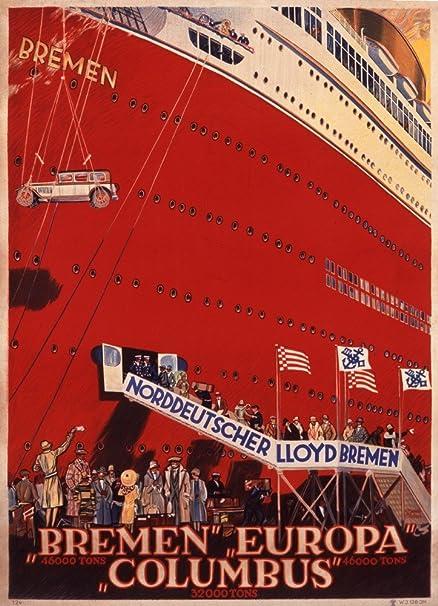 ... Bremen - Bremen Europa Columbus Vintage Poster (artist: Steiner) Germany c. 1930 (12x18 Giclee Art Print, Gallery Framed, Silver Wood): Posters & Prints