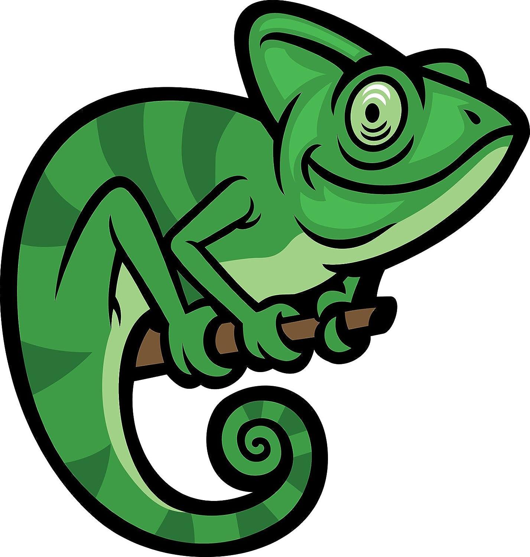 Amazon Com Cute Adorable Smiling African Green Stripe Chameleon Cartoon Vinyl Sticker 8 Tall Automotive