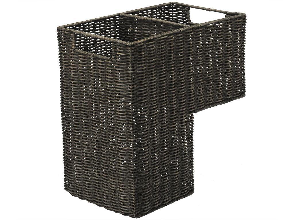 KOUBOO 1060066 Wicker Stair Step Basket in Wash, 15'' x 9.5'' x 15.75'', Dark Brown by Kouboo
