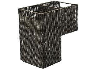 Kouboo Wicker Handwoven Stair Step Basket, 2 Compartments, 15 x 15.75 x 9, Dark Brown