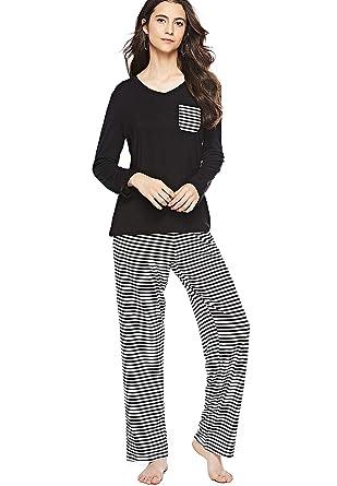 Etosell Womens 2 Piece Pajama Set Long Sleeve Top with Striped Pants Lounge  Sleepwear Set 7a21b6f09
