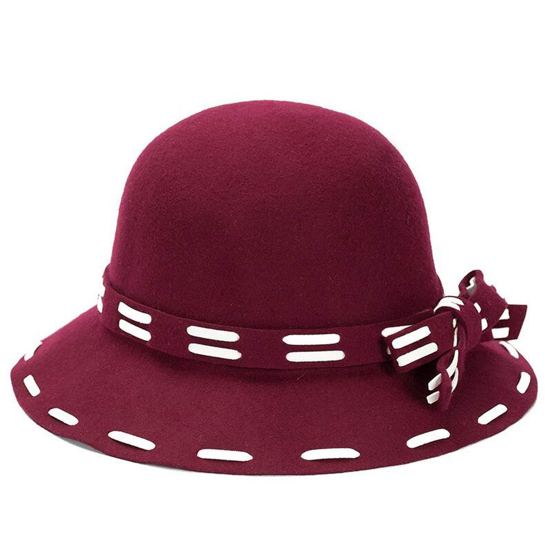 Manual Noble Wool Fedoras Hat for Women Fashion Bow-Knot Cap Vintage Elegant Cap Brand Soft Chapeu Wholesale
