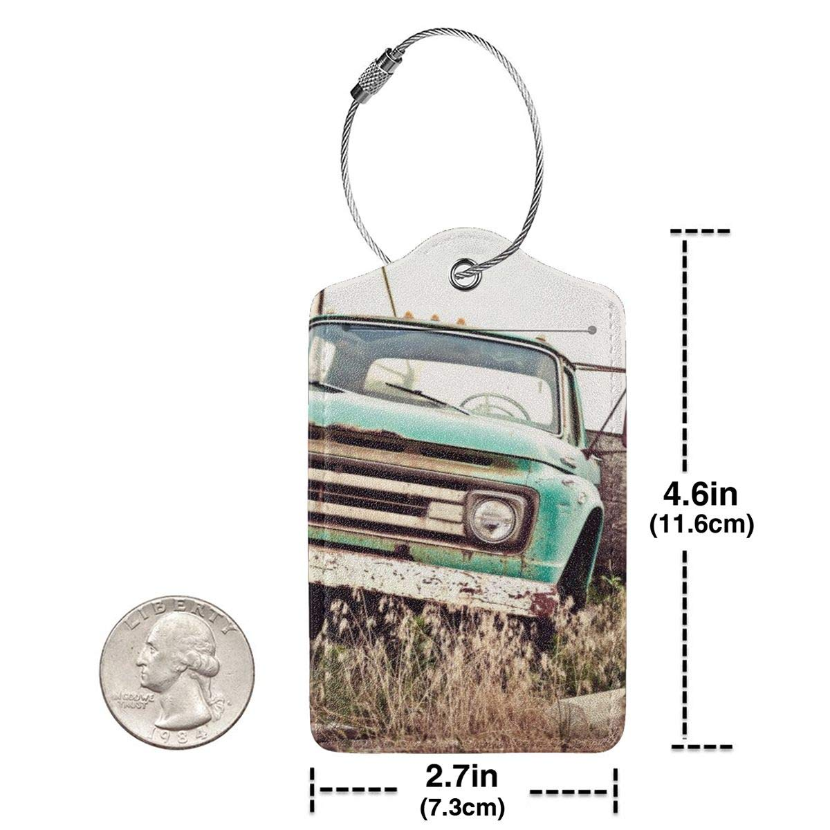 Old Rusty Car Along Historic US Route 66 Luggage Tag Label Travel Bag Label With Privacy Cover Luggage Tag Leather Personalized Suitcase Tag Travel Accessories