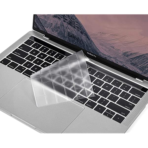 CaseBuy Ultra Thin Clear Keyboard Skin for 2018 2017 2016 Release MacBook Pro with TouchBar 13 Inch A1706 A1989 or 15 Inch A1707 A1990 Protective Skin for MacBook Pro Touch Bar Keyboard Cover