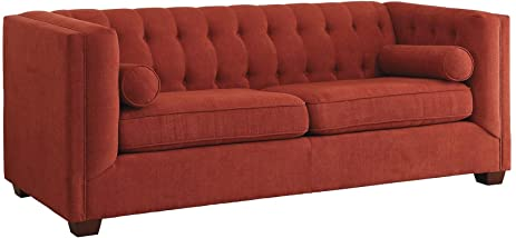 Amazoncom Coaster Cairns Tufted Back Sofa in Crimson Kitchen