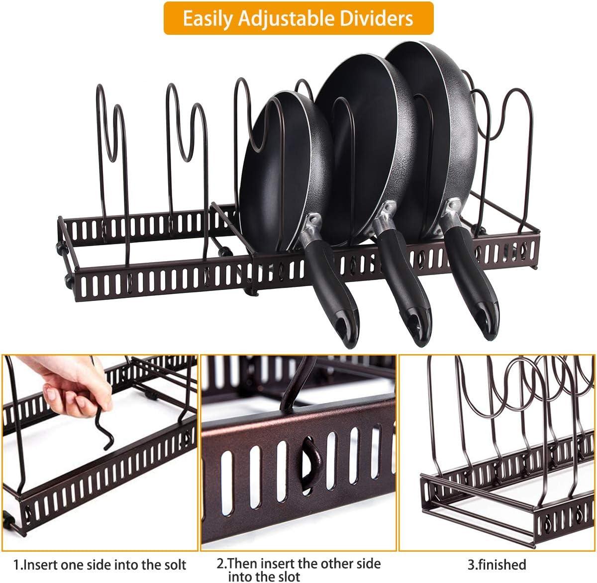 Bandan colore: nero in metallo Portapacchi regolabile per pentole e padelle espandibile versatile e per riporre pentole da cucina per armadi da cucina