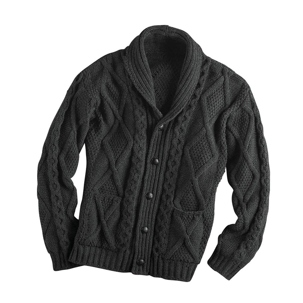 Men's Aran Shawl Collar Cable Knit Cardigan Sweater - Charcoal - Large