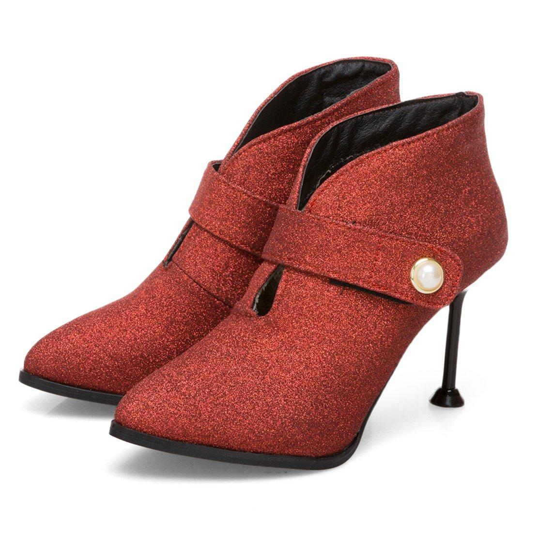 e11903af540b21 AIYOUMEI Stiletto Stiefeletten mit Glitzer Ankle Boots für Damen High Heels  Pumps Spitz  Amazon.de  Schuhe   Handtaschen