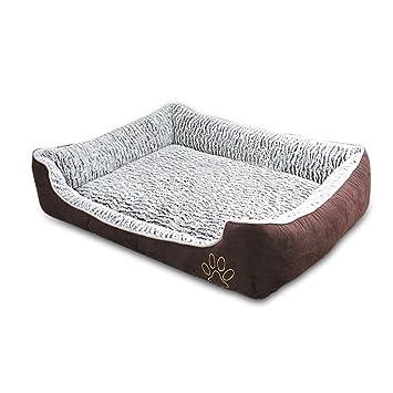 PETCUTE Perro Cama Reforzada Lavable Mascota colchoneta para Perros Gato Cojín Almohada Estera Perrera Marrón