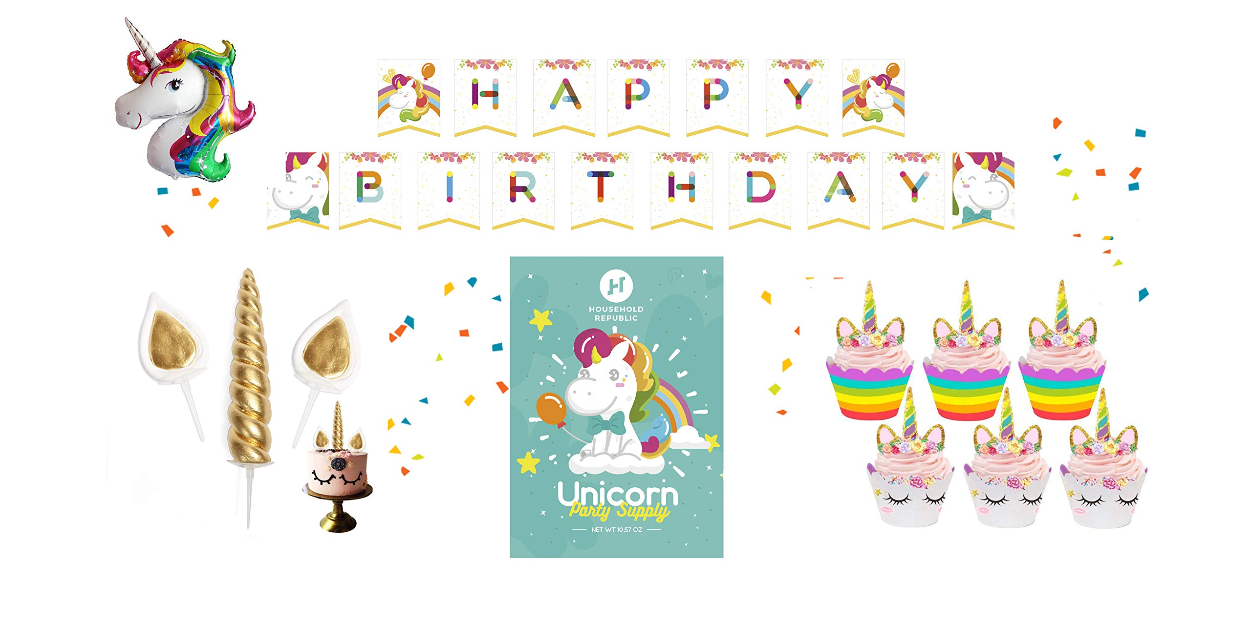 Household Republic 15pc Happy Birthday Unicorn Rainbow Party Decorations Kit – Colorful Decor Supplies, Accessories for Kids Parties – Cute Eyelash Cake Topper, Cupcake Wraps, Bday Banner, Balloon