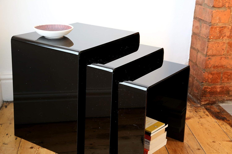 Set Of 3 Wrights Plastics GPX Premium Black Acrylic Nest Of Tables
