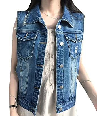 Pandapang Womens Slim Ripped Lapel Short Sleeveless Jean Jacket ...