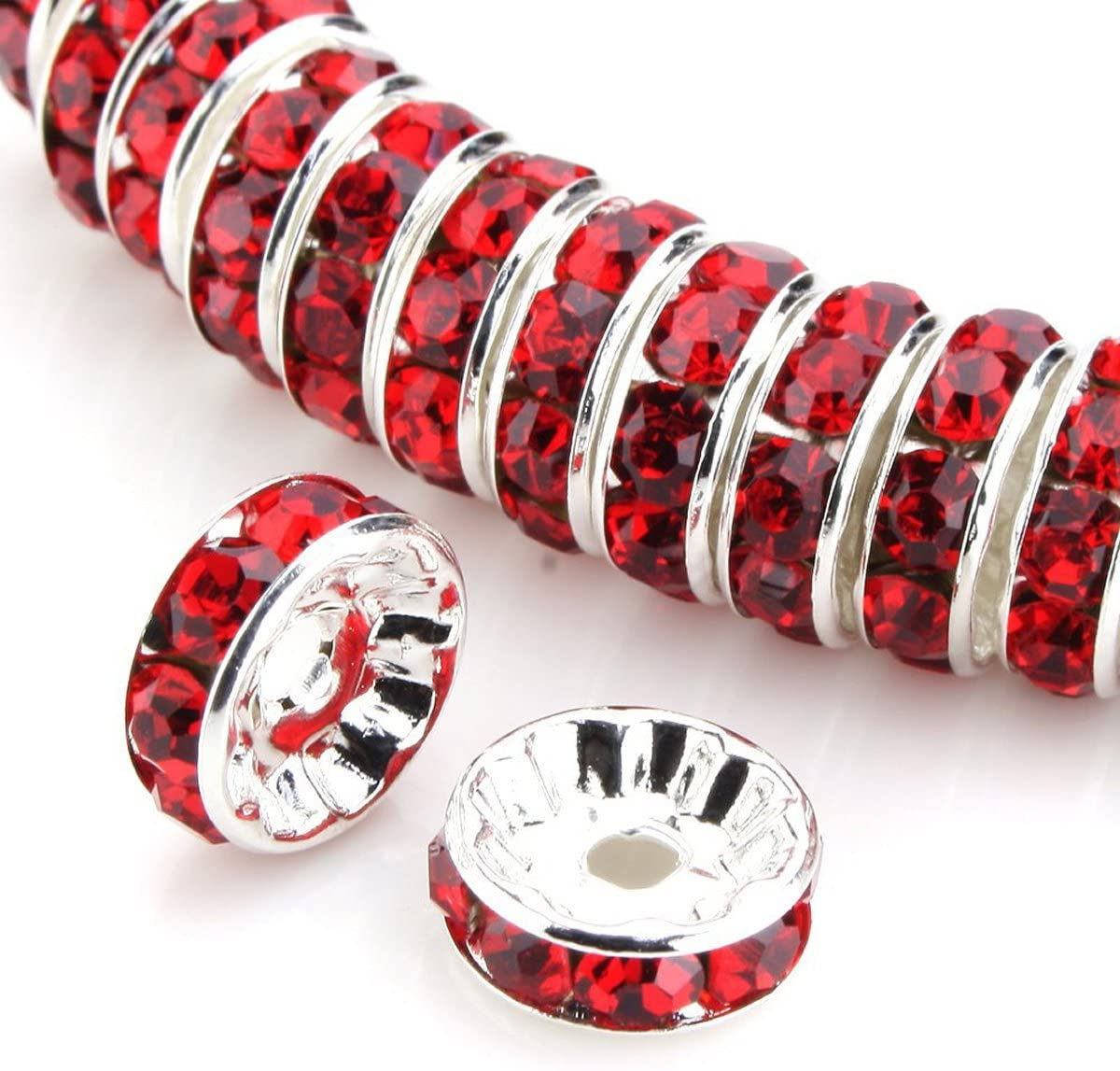 100 piezas de 12 mm de color rojo Siam claro AAA+ chapado en plata de cobre Rondelle espaciador redondo de cuentas sueltas de cristal austriaco para fabricación de joyas y manualidades CF3-1206