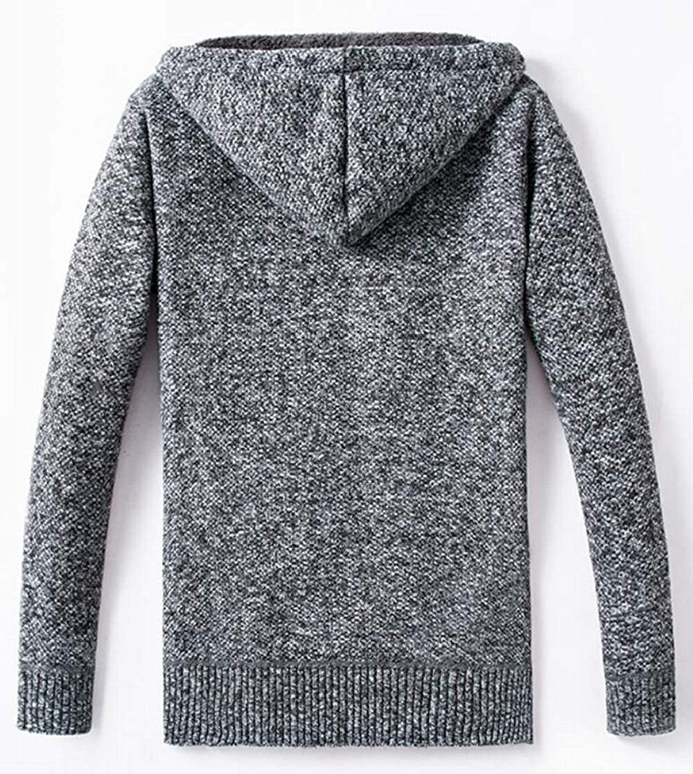 M/&S/&W Mens Hooded Front-Zip Knitted Warm Faux Fur Lined Thicken Cardigan Sweaters
