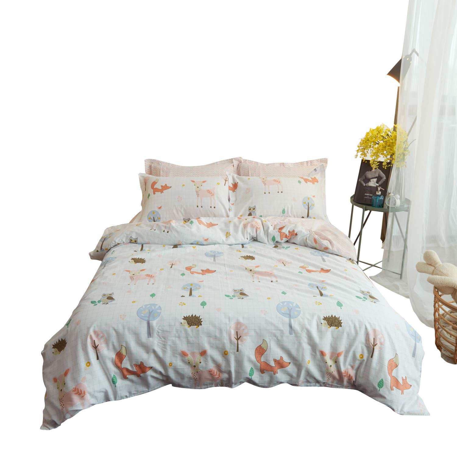 Buildingdream Twin Duvet Cover 100% Cotton Lovely Animal World Fox Kids Duvet Cover 68 x 90 Super Soft Breathable 2 Pieces Hotel Bedding Sets with Zipper Closure(Animal World,Twin)