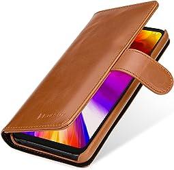 StilGut Talis Housse LG G7 ThinQ avec Porte-Cartes en Cuir véritable. Etui Portefeuille pour LG G7 ThinQ à Ouverture latérale et Languette magnétique, Cognac