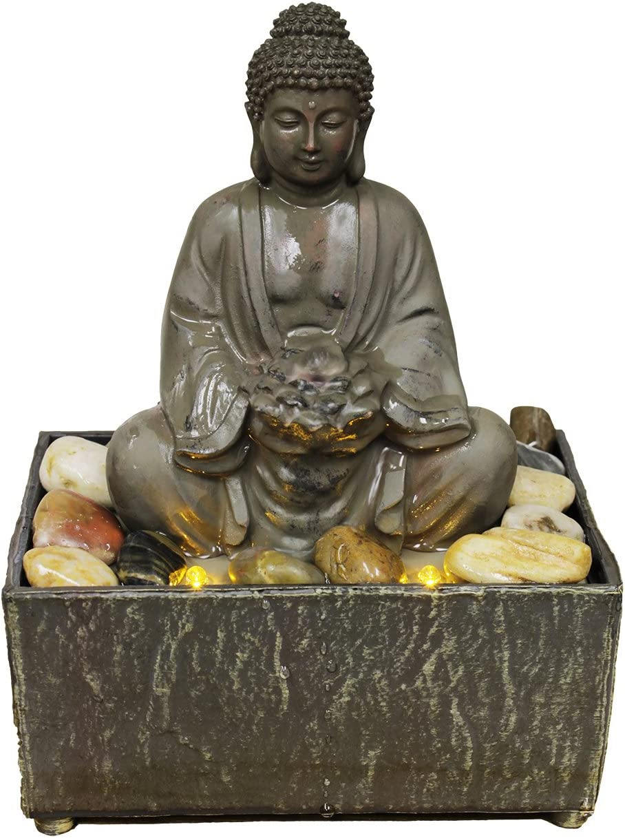 """8"""" H Lotus Buddha LED Fountain with Adapter"""