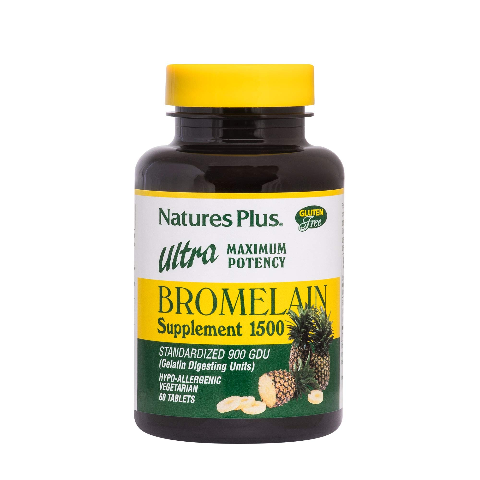 Natures Plus Ultra Bromelain 1500 (Standardized 900 GDU) - 1500 mg, 60 Vegetarian Tablets - Proteolytic Enzyme Supplement, Sinus Support Supplement, Anti Inflammatory - Gluten Free - 60 Servings