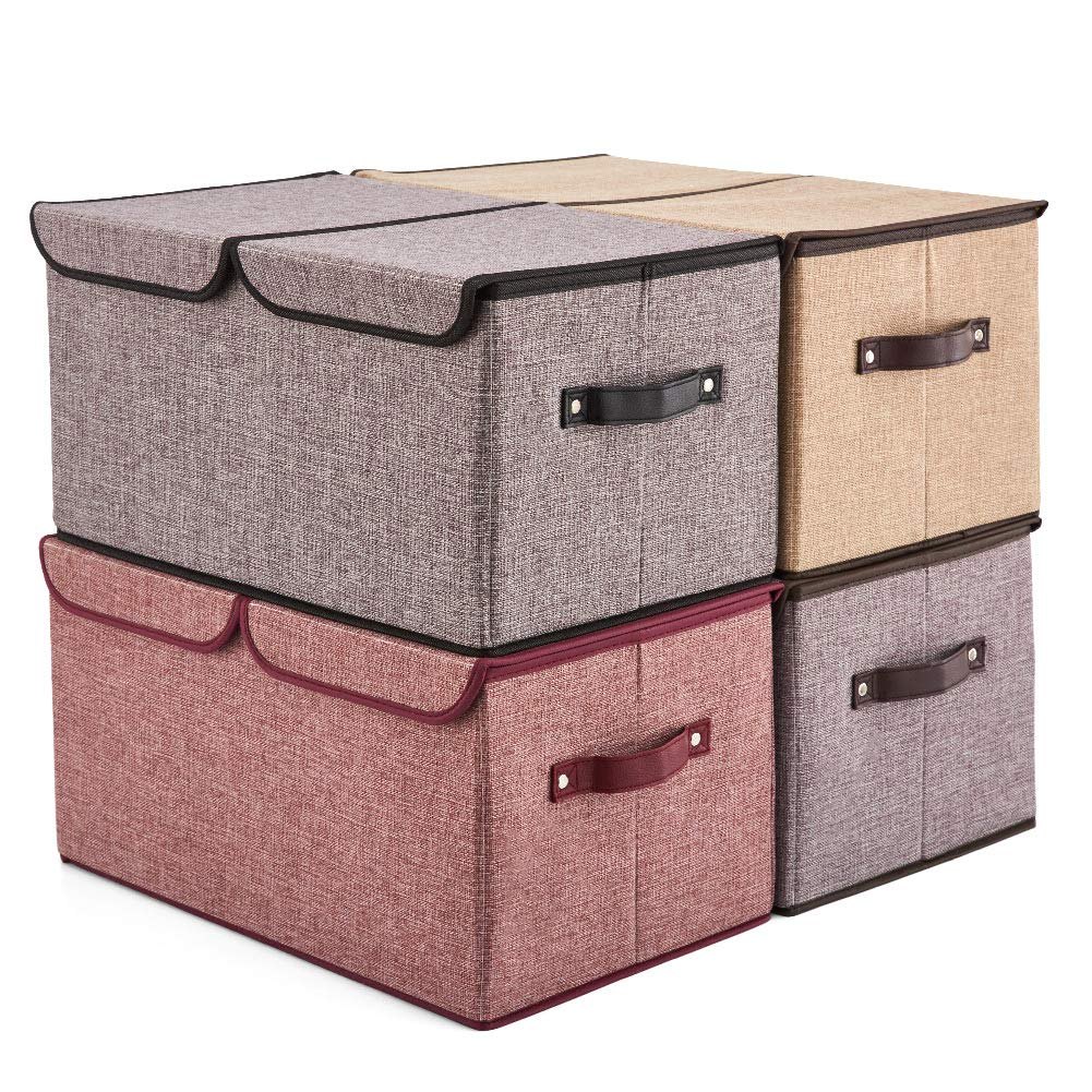 Large Lidded Storage Boxes [4-Pack] EZOWare Linen Fabric Foldable Cubes Bin Box Containers with Lid/Handles for Home, Office, Nursery, Toys, Closet, Bedroom, Living Room - Assorted Color by EZOWare