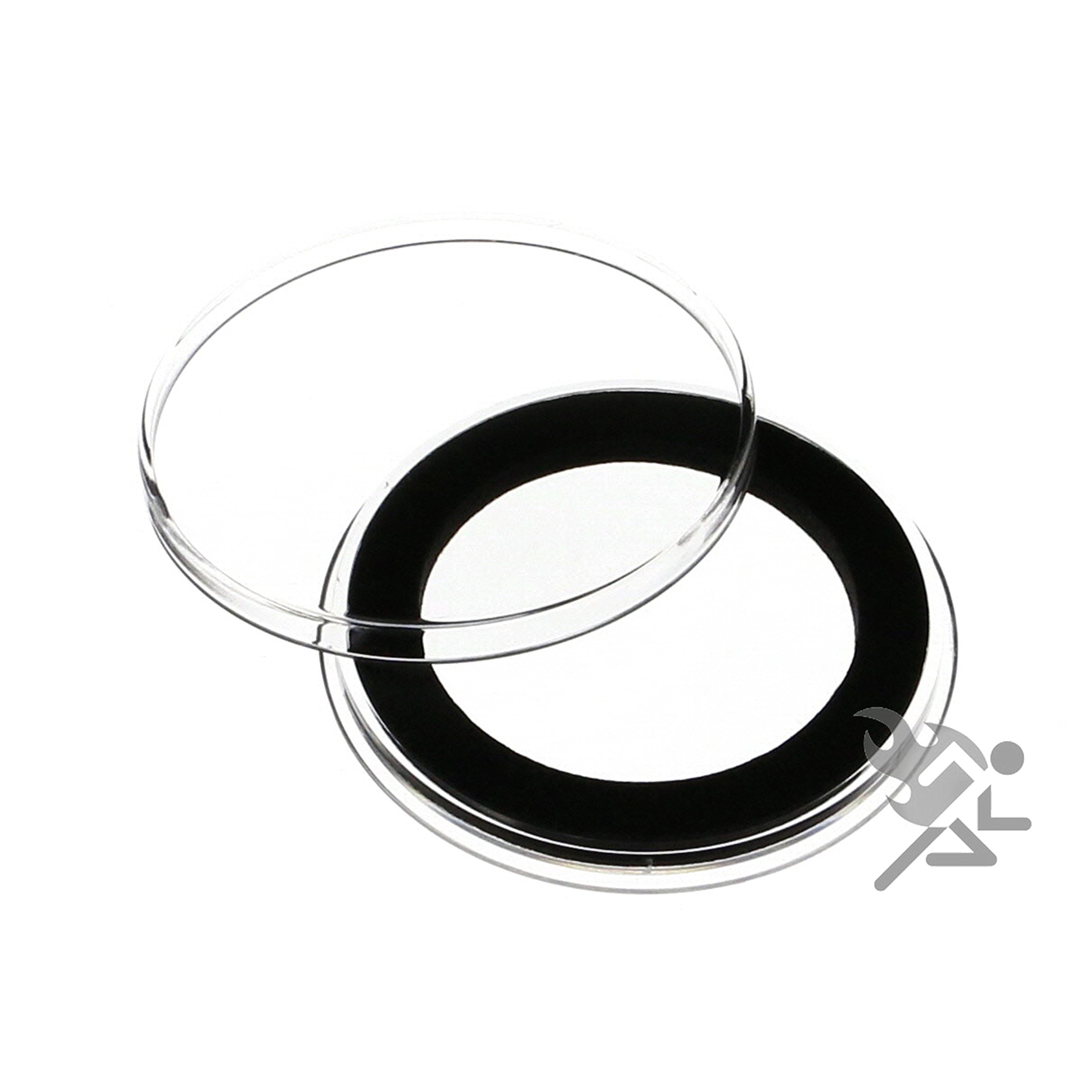 (25) Air-tite 35mm Black Ring Coin Holder Capsules