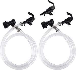 MRbrew Ball Lock Beer Line, 2 Pack 5ft 3/16'' Keg Quick Disconnect Draft Clear Beer Line Assembly, Liquid Dispensing Tubing Kit with 3 Picnic Faucet & 4 Food-Grade Hose Clamp for Homebrew