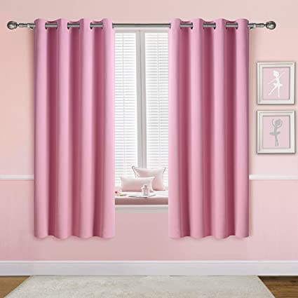 Amazon.com: Anjee Pink Blackout Curtains for Girls Bedroom, Grommet ...