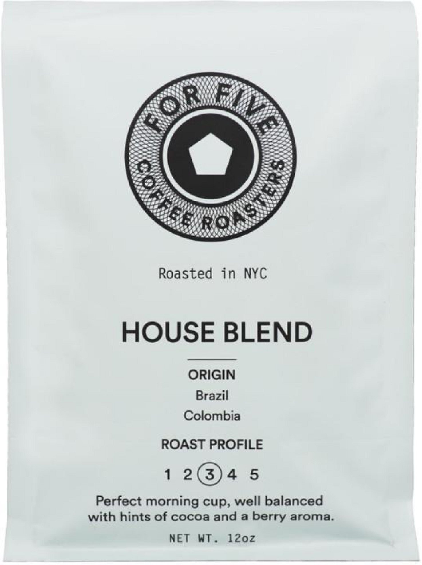 For Five Coffee Roasters NYC House Blend Medium Roast (Origin: Brazil, Columbia), Ground 12 oz by For Five Coffee Roasters