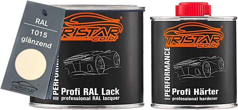 Tristarcolor Ral 1015 Hellelfenbein 2k Autolack Glänzend 0 75 Liter 750 Ml Dose Inkl Härter Auto