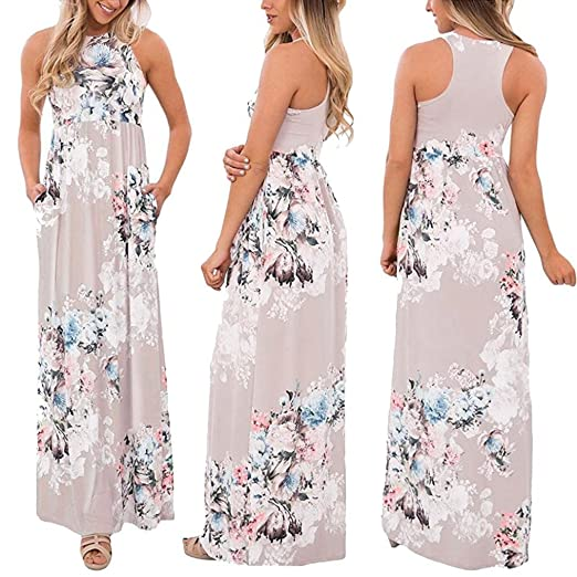 c6292bf5557 Taore Plus Size Hippie Boho Womens Casual Summer Floral Party Dress Beach  Long Maxi Dress (
